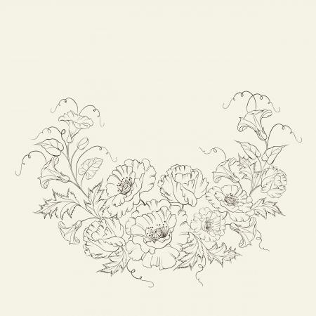 convolvulus: Wreath with poppy and convolvulus flowers. Vector illustration.
