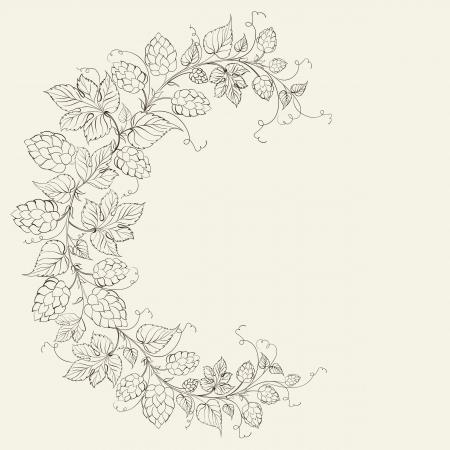 Le blé et le houblon sur sépia. Vector illustration.