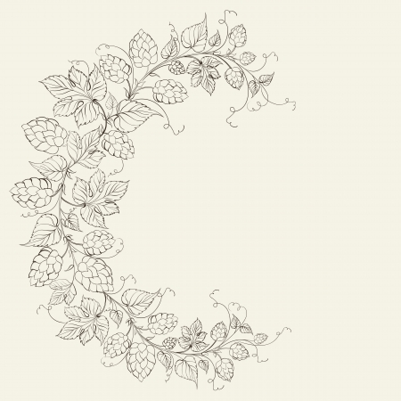 bitterness: Wheat and hop on sepia. Vector illustration. Illustration