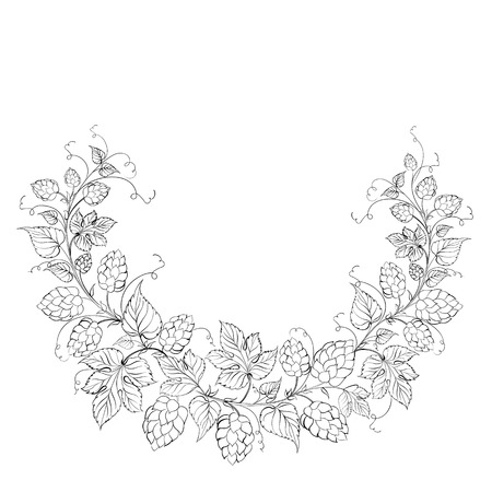 Hop garland on a white background. Vector illustration. Vector