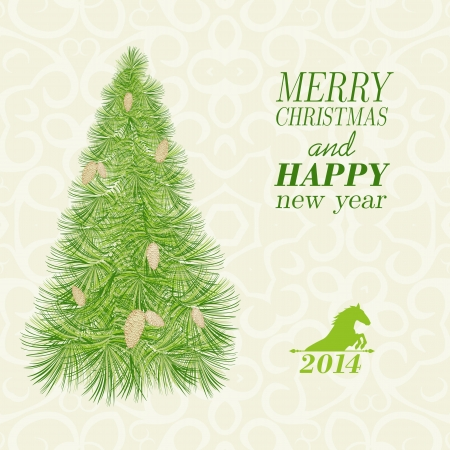Christmas card with spruce and pinecone. Vector illustration. Vector