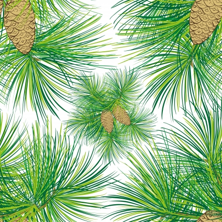 conifers: Christma spruce with pinecone seamless pattern. Vector illustration.