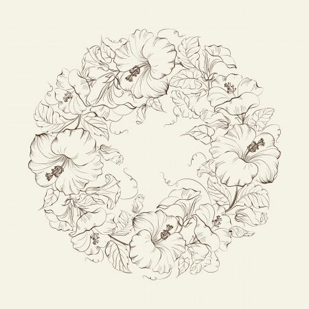 beautiful red hibiscus flower: Hibiscuses wreath background. Vector illustration.
