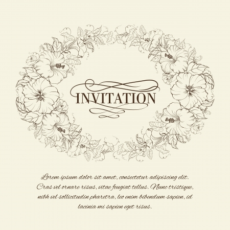 Invitation card with blooming hibiscus. Vector illustration. Vector