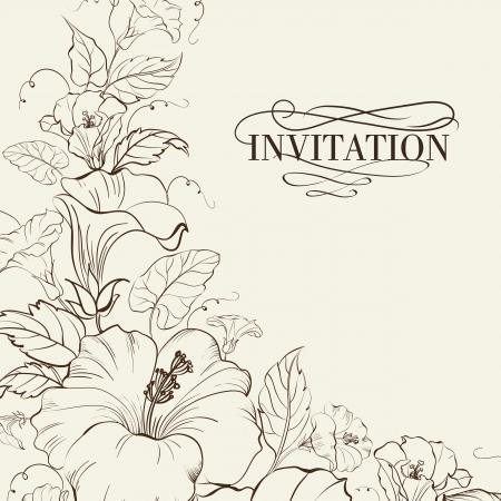 自然と咲くハイビスカス カード。ベクトル イラスト。  イラスト・ベクター素材