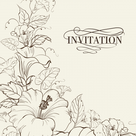 flowers beautiful: Nature card with blooming hibiscus. Vector illustration. Illustration