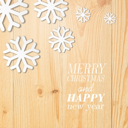 Wood board with white snow and stars. Christmas background. Vector illustration. Vector