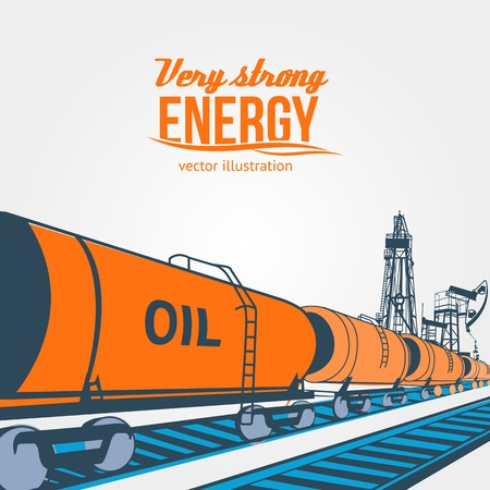 diesel train: Railroad tank wagon on a white background. Vector illustration.