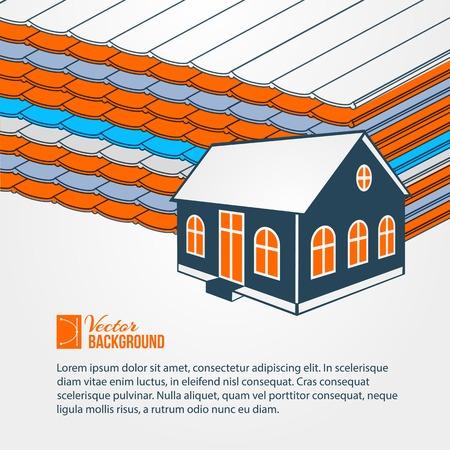 tile roof: Privat hoiuse su tetto di tegole. Illustrazione di vettore.