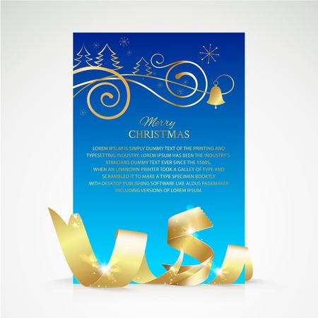 Christmas card  with gold ribbon and copy space. Vector illustration. Vector