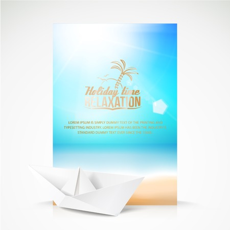 arrive: Paper boat, beach, palm on an paradise place. Vector illustration.