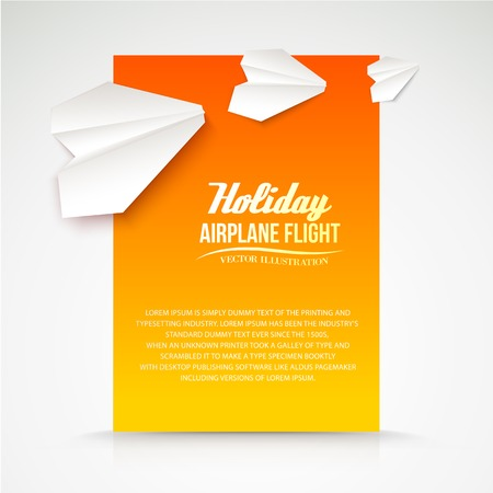 Paper airplane postcard. Vector illustration. Vector