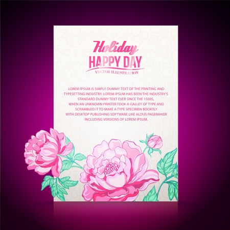 Card on a dark red background from peonies. Vector illustration. Vector