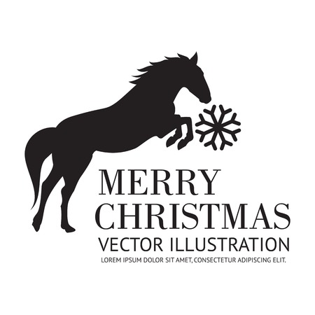 stroking: Black horse christmas background. Vector illustration.
