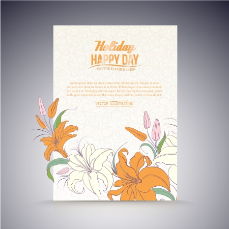 pad  lily: Lily on a sheet of paper. Vector illustration. Illustration