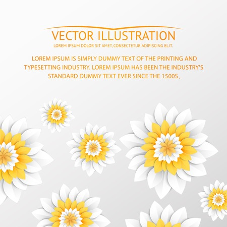 Paper flowers postcard. Vector illustration. Vector