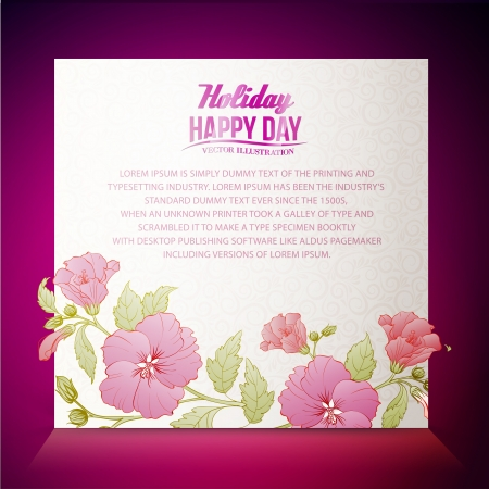 Vintage hibiscus flower on white background. Vector illustration. Vector