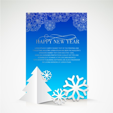 Creative christmas tree and snow cristalls holiday card. Vector Illustration. Vector