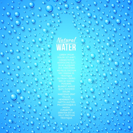 Bottle of water and water drops. Vector illustration.