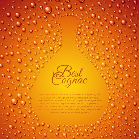 whisky: Flowing down drops of cognac in wineglass. Vector illustration.