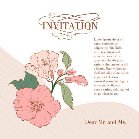 Vintage hibiscus flower on white background. Vector illustration. Stock Vector - 23079603