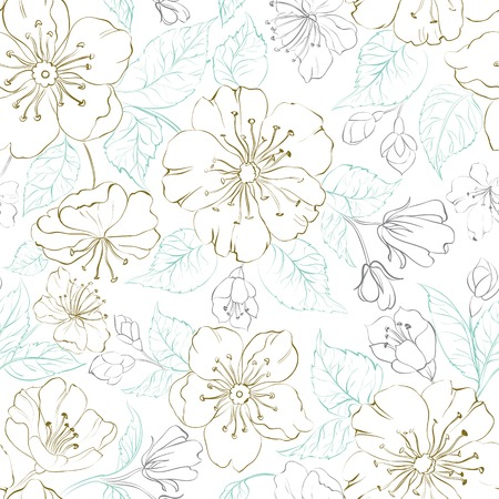 Seamless pattern scatch of spring sakura. Vector illustration. Vector