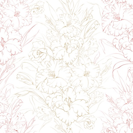 Seamless pattern  beautiful fresh iris flowers. Vector illustration. Vector