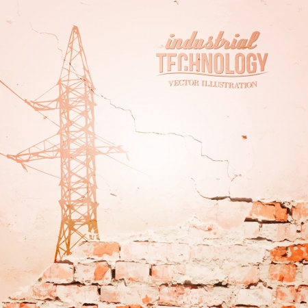 powerlines: High voltage power lines over wall. Vector illustration.