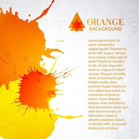 art abstract: Orange background with splashes. Vector illustration.