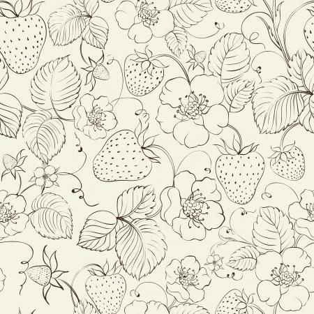 botanika: Jahody bezešvé vzor. Vektorové ilustrace.