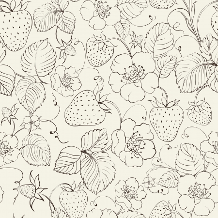 Strawberries seamless pattern. Vector illustration. Vector