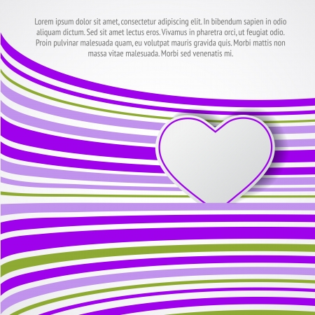 White heart on violet waves. Vector illustration. Vector