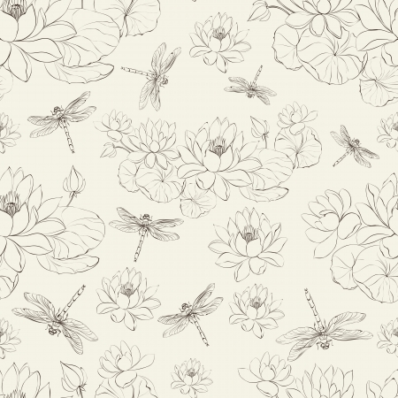 Seamless pattern lotus flower and dragonfly Illustration