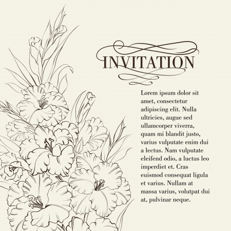 Irises flowers with text place. Vector illustration. Vector