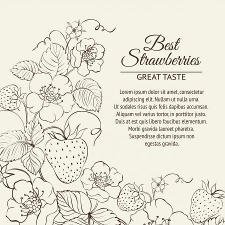 Strawberries brunch over sepia background. Vector illustration. Vector