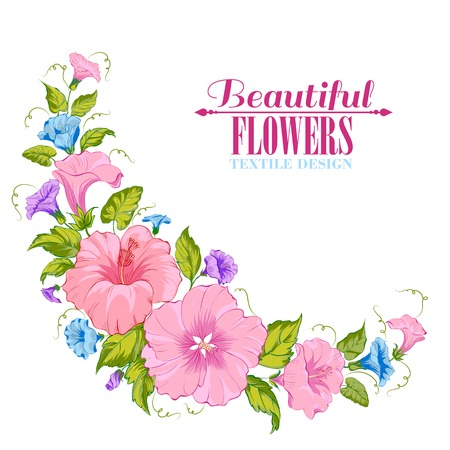 Color garland of flowers. Vector illustration. Vector