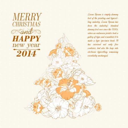 Chrismas fir tree from flowers. Vector illustration. Vector