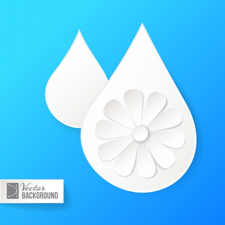 White paper drop and flower over blue. Vector illustration. Vector