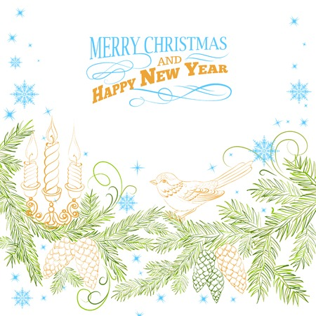 Christmas background with bird and fir. Vector illustration. Stock Vector - 23580858