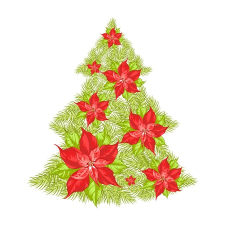 Green spruce made of red poinsettia. Vector illustration. Vector