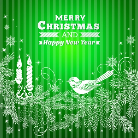 winterberry: Christmas background with bird and fir. Vector illustration.