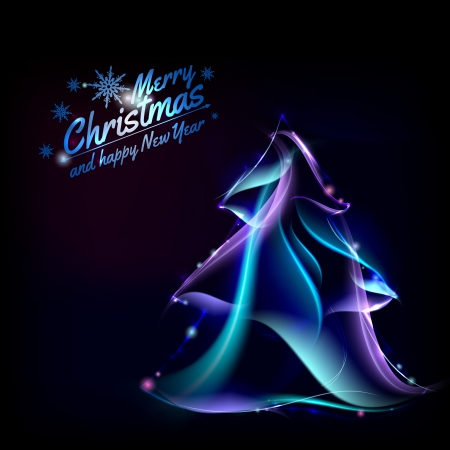 Christmas background with fir and sparks. Vector illustration. Vector