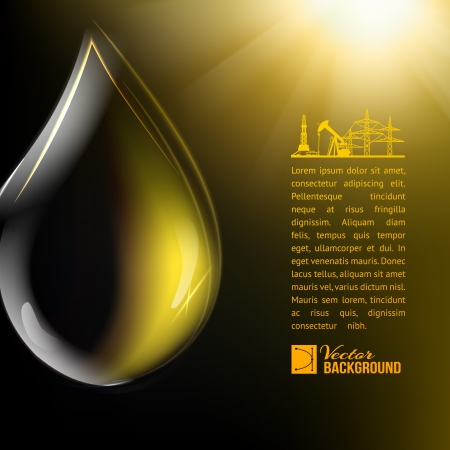 Oil drop over oil surface. Vector illustration. Vector