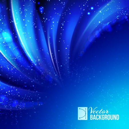 desktop wallpaper: Snow falling on the background of blue luminous rays. Vector illustration.