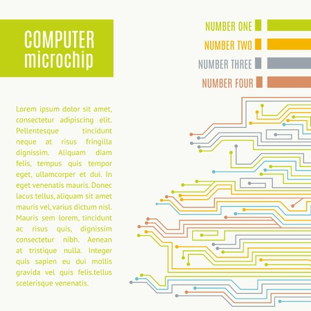 pcb: Colorful microchip background. Vector illustration. Illustration