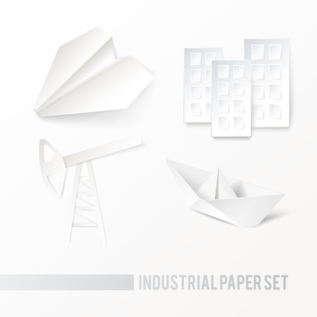 'rig out': Origami oil pump, airplane, ship, house icons on a white background. Vector illustration, contains transparencies, gradients and effects.