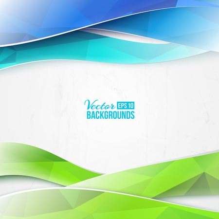 Green triangles and waves on white background. Vector illustration. Vector