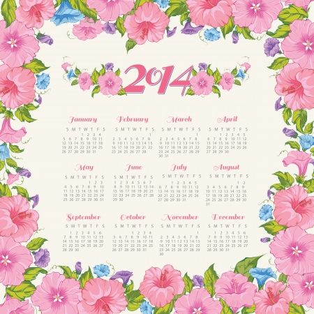 Year calendar. Vector illustration. Vector