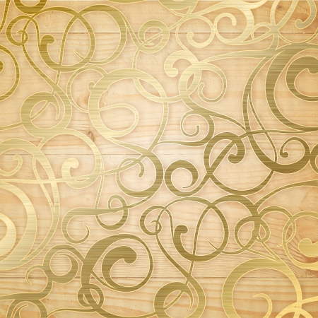 Golden abstract pattern on biege background. Vector illustration.
