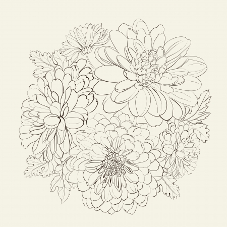 biege: Wreath of beautiful summer flowers, isolated on biege. Vector illustration.